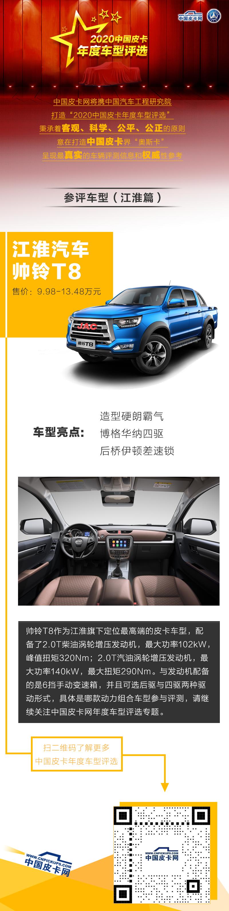 """江淮帥鈴T8參評""""2020中國皮卡年度車型評選"""""""
